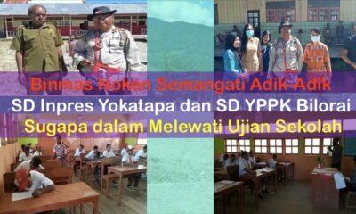 Binmas Noken Semangati Siswa SD Inpres Yokatapa dan SD YPPK Bilorai Sugapa dalam Melewati Ujian Sekolah