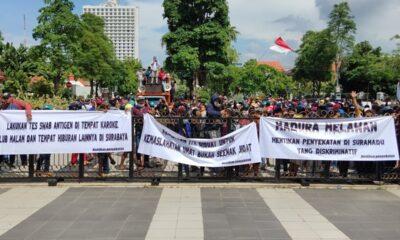 Protes Penyekatan Suramadu, Warga Madura Gelar Demonstrasi di Balai Kota Surabaya