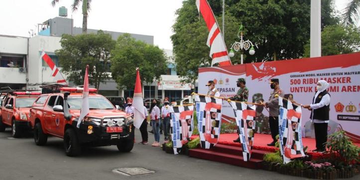 Panglima TNI dan Kapolri Resmikan Gerakan Mobil Masker di Malang Raya