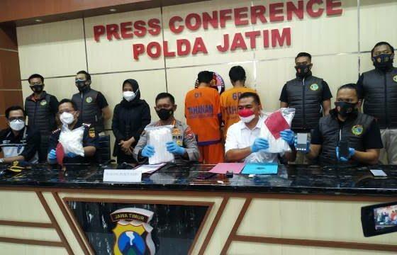 Polda Jatim Ungkap Penyelundupan 6 Kg Sabu-Sabu dari Malaysia